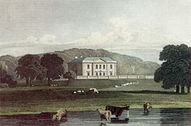 Gunton Hall, designed by Matthew Brettingham country house across a pond