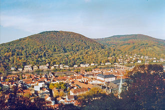 Heiligenberg (Heidelberg) - The Heiligenberg viewed from across the river; in the foreground the old town of Heidelberg