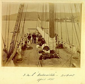 HMS Waterwitch and crew Hobart April 1895 looking aft.jpg