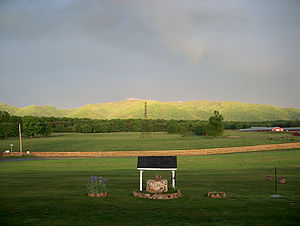 Shenandoah Valley - A poultry farm with the Blue Ridge Mountains in background