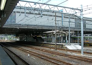 Haijima Station - View of Hachikō Line platforms 4 and 5 from platform 3, August 2009