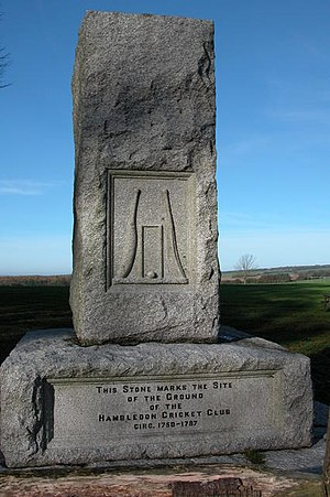 Hambledon cricket club memorial on Broadhalfpe...