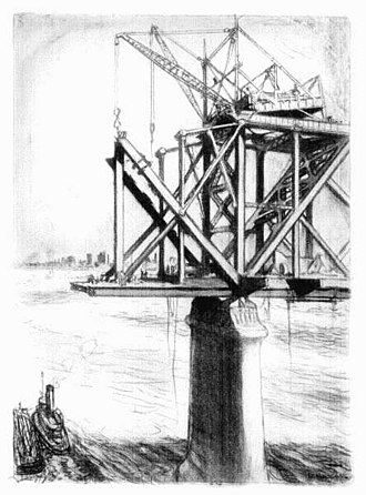 Harahan Bridge - Hanging in the air above the middle of the stream - drawing of the construction of Harahan Bridge, c. 1917