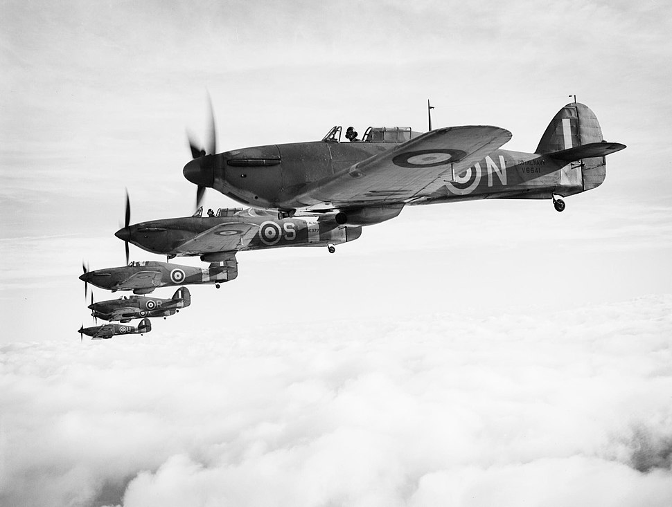 Hawker Sea Hurricanes of the Fleet Air Arm, based at RNAS Yeovilton, flying in formation, 9 December 1941. A9534