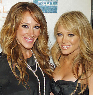 Hilary Duff - Duff (right) pictured with her older sister Haylie (left) in 2008