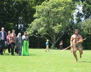 Waitangi Day - Prime Minister Helen Clark being welcomed onto Hoani Waititi Marae, in West Auckland, Waitangi Day 2006