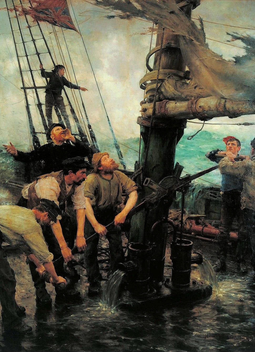 Henry Scott Tuke - All Hands to the Pumps - Google Art Project