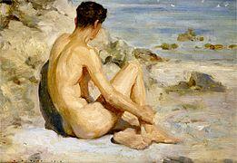 Henry Scott Tuke - Boy on a beach, 1912.jpg