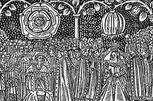 16th century woodcut of the coronation of Henr...