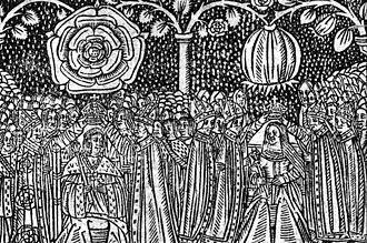 Catherine of Aragon - 16th century woodcut of the coronation of Henry VIII of England and Catherine of Aragon showing their heraldic badges, the Tudor Rose and the Pomegranate of Granada