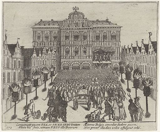 Het Twaalfjarig Bestand in Antwerpen afgekondigd - Twelve Years' Truce declared in Antwerp (Frans Hogenberg)