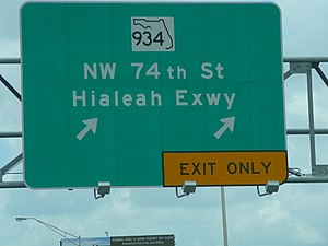 Florida State Road 934 - Sign on the Palmetto Expressway indicating exit ramp for the Hialeah Expressway (SR 934)