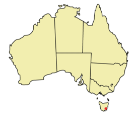 Location of Hobart within Australia