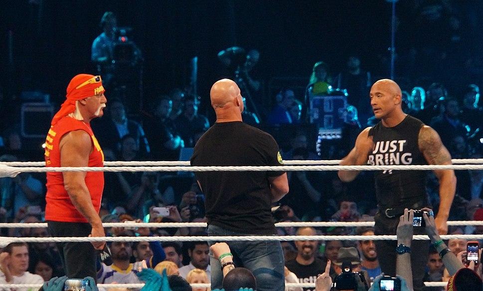 Hogan Rock and Austin WrestleMania XXX