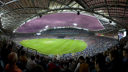 International Twenty20 cricket matches have been hosted annually at Stadium Australia since 2012. Homebush, NSW, Australia.jpg
