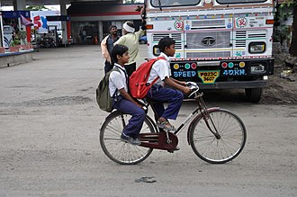 Transport in India - Bicycles used by school children in West Bengal