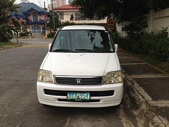Grey import vehicle - A Honda Stepwgn as seen in the Philippines, converted to left-hand drive. Right-hand drive vehicles are not allowed to be used in the country except in freeport zones, and are thus modified to be driven legally.