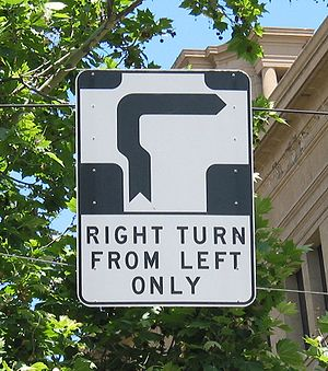 Hook turn - Hook turn sign in Melbourne, Australia.