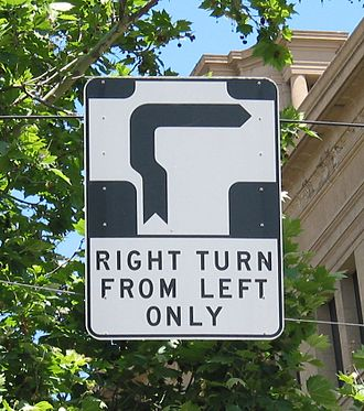 Glossary of road transport terms - Hook turn sign in Melbourne, Australia