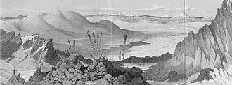 Joseph Dalton Hooker - Tibet and Cholamo Lake from the summit of the Donkia Pass, looking North West from Hooker's Himalayan Journals. Hooker reached the pass on 7 November 1849.
