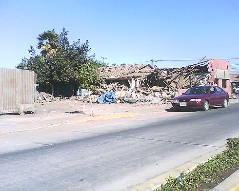 A house located on O'Higgins Avenue, Santa Cruz, Chile after the earthquake. Image: Diego Grez.