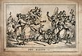 Human figures with the features of animals are in a brawl wi Wellcome V0039157.jpg