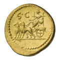INC-1813-r Ауреус ок. 43 г. до н. э. Монетарии Октавиан Люций Цестий и Гай Норбан (реверс).png