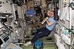 ISS-55 Scott Tingle and Anton Shkaplerov relax inside the Zvezda service module.jpg
