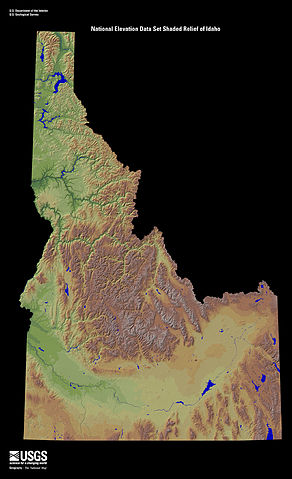 Digitally colored elevation map of Idaho