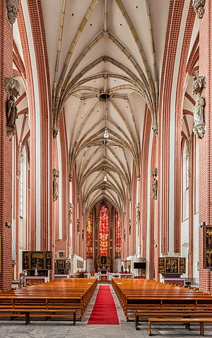Main nave of the Virgin Mary church, Wrocław, Poland.