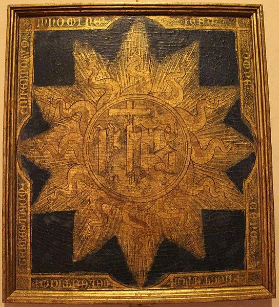 File:Ignoto senese, trigramma di s. bernardino (secondo tradizione di mano del santo) 01.JPG