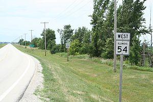 Illinois Route 54 - Illinois Route 54 south of Roberts, Illinois.