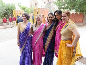Bandhani - Women wearing Bandhani Sari and Shalwar kameez from Kheenvsar, Rajasthan, India.