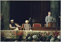 Indian Prime Minister Morarji Desai listens to Jimmy Carter as he addresses the Indian Parliament House.