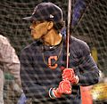 Indians shortstop Francisco Lindor takes batting practice at Wrigley Field. (30009682363).jpg