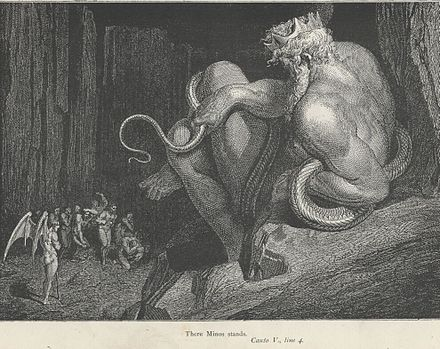 Gustave Doré's depiction of Minos judging sinners at the start of Canto V