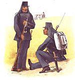 Tentara pribumi dan tentara Afrika yang bertugas di dalam KNIL