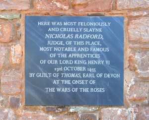 Nicholas Radford - Inscribed slate tablet at Upcott Barton, composed and erected by the owner circa 2015