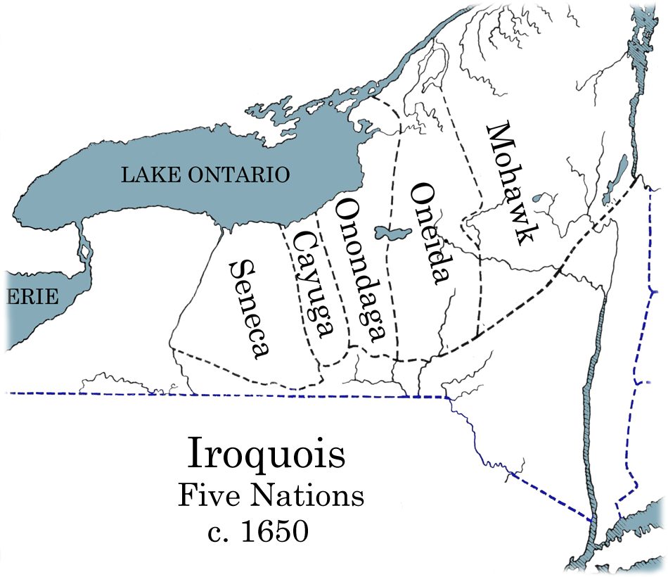 Iroquois 5 Nation Map c1650