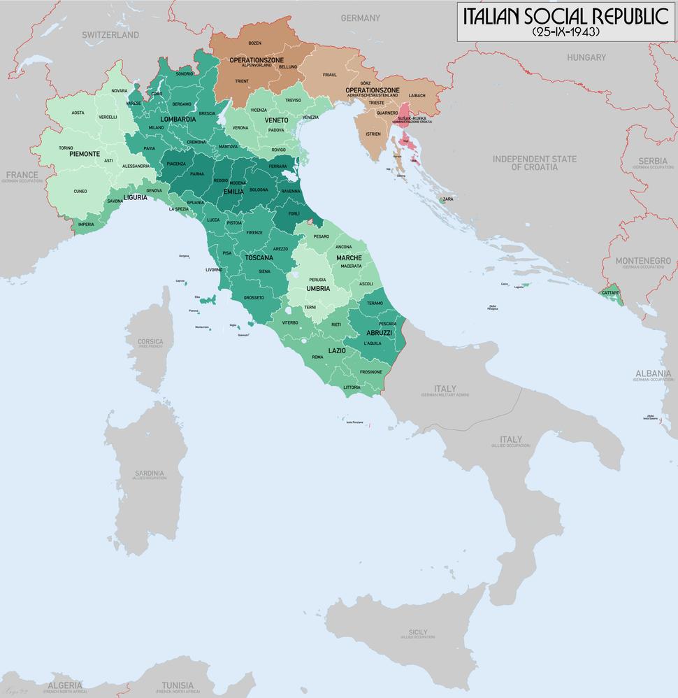 Italian Social Republic 1943 Map