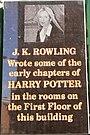 J.K.Rowling Plaque outside the former Nicholson's Cafe, Edinburgh.jpg
