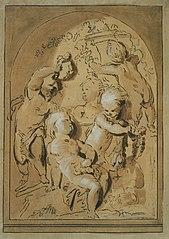 Design for a grisaille with five putti