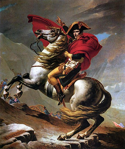 Napoleon Crossing the Alps (David). In 1800 Bonaparte took the French Army across the Alps, eventually defeating the Austrians at Marengo Jacques-Louis David - Napoleon Crossing the Alps - Kunsthistorisches Museum.jpg