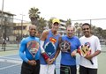 James William Adkins III, Manny Cukier, John Coray and Donald Land play paddleball on Venice Beach in California LCCN2013632423.tif