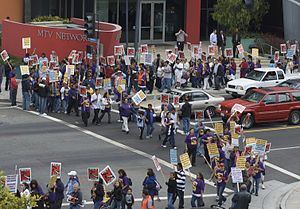 Freedom of assembly - Janitorial workers striking in front of the MTV building in Santa Monica, California.  Striking in a trade union is a way of exercising freedom of assembly and freedom of association.