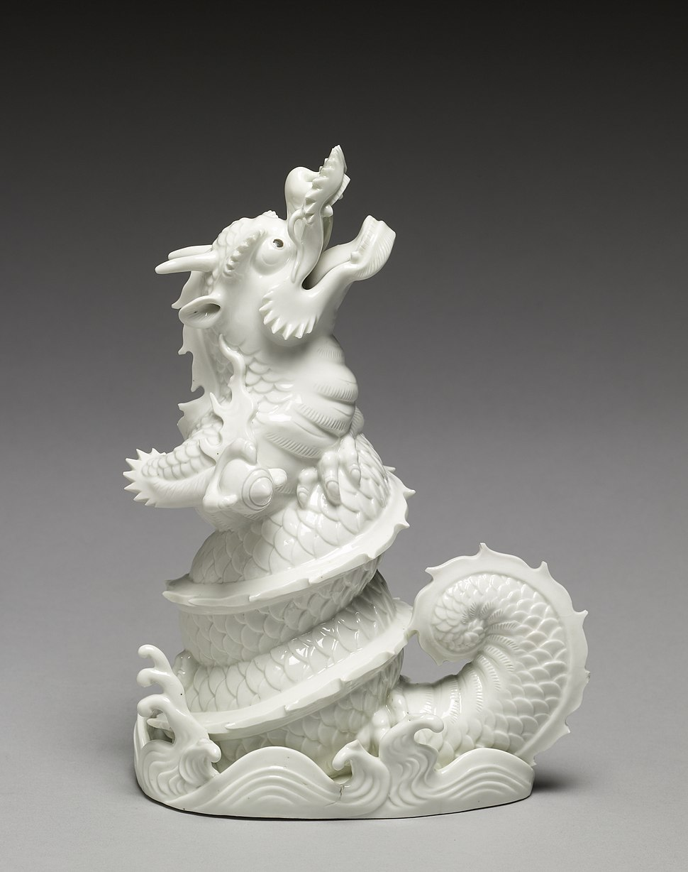"""Japanese - Figurine (""""Okimono"""") of a Dragon Emerging from Waves - Walters 491733"""