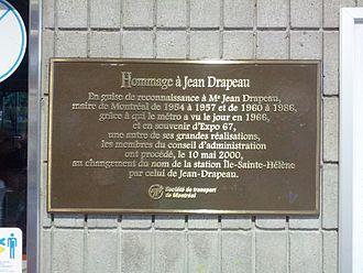Jean Drapeau - Sign of Jean Drapeau in Montreal.