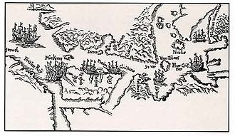 Jens Munk - A map drawn in hand by Jens Munk in 1624 of the area between Cape Farewell in Greenland and Hudson Bay in Canada, seen from the north