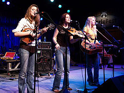 Jessica, Megan and Rebecca Lovell on Watson Stage, MerleFest 2007.jpg