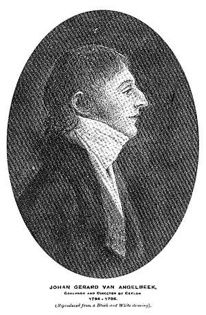 Johan van Angelbeek - Drawing of van Angelbeek from the Journal of the Dutch Burgher Union of Ceylon, 1916